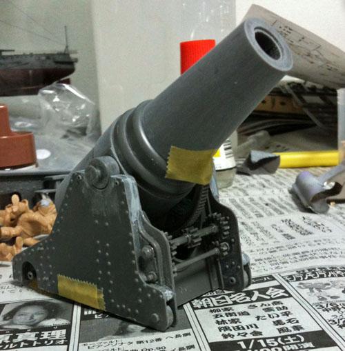 砲身・砲架を仮組み