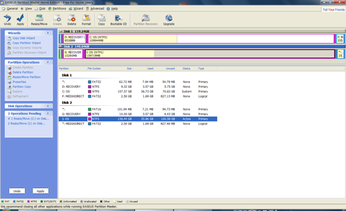 EASEUS Partition Masterの画面
