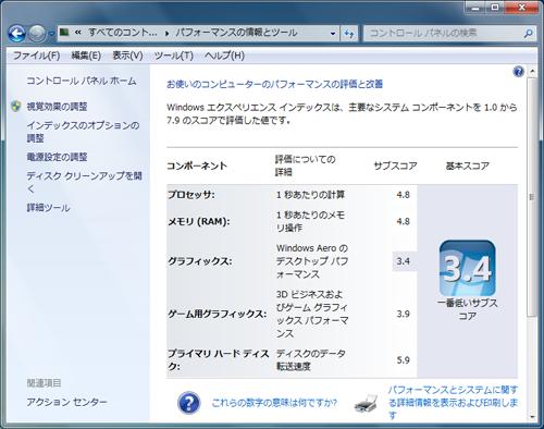 SSD交換後のインデックス