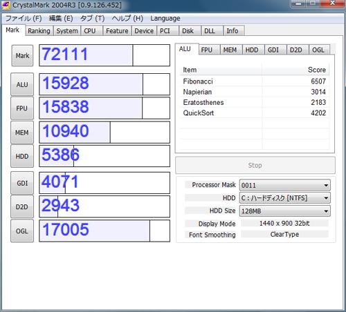 SSD交換前のベンチ結果