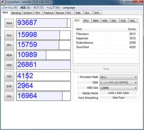 SSD交換後のベンチ結果